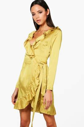 boohoo Satin Frill Sleeved Skater Dress