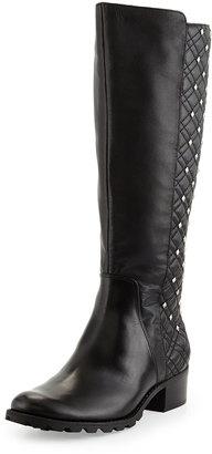 Adrienne Vittadini Links Studded Leather Boot, Black $169 thestylecure.com