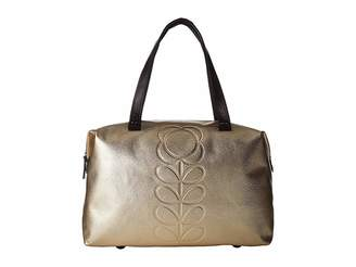Orla Kiely Embossed Flower Stem Leather Zip Shopper Handbags
