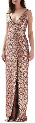 ML Monique Lhuillier Multi Color Sequined V-Neck Sleeveless Gown w/ Slit