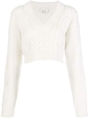 3.1 Phillip Lim cropped open back aran knit sweater