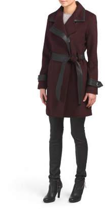 Millie Faux Leather Trim Wool Blend Coat