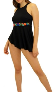 Fit 4 U Folkloric Asymmetric High Neck Top Women's Swimsuit