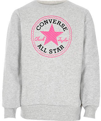 River Island Girls Converse grey crew neck sweatshirt
