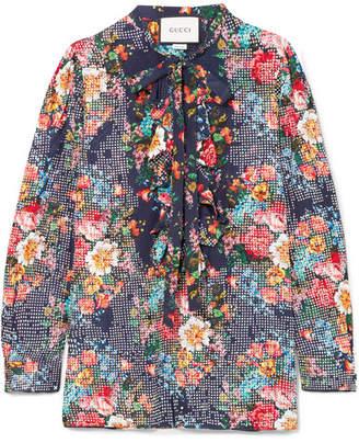 Gucci Josephine Embellished Floral-print Silk-chiffon Shirt - Blue