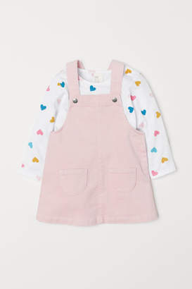 H&M Top and Bib Overall Dress - Pink