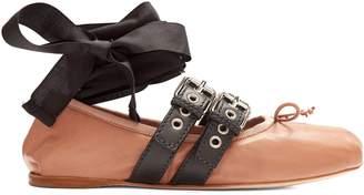 Miu Miu Buckle-fastening leather ballet flats