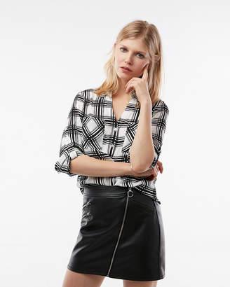 Express Petite Slim Fit Plaid Portofino Shirt