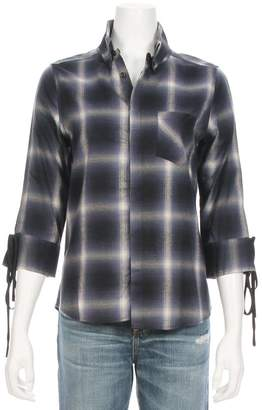 CALVIN RUCKER Tie Sleeve Plaid Shirt
