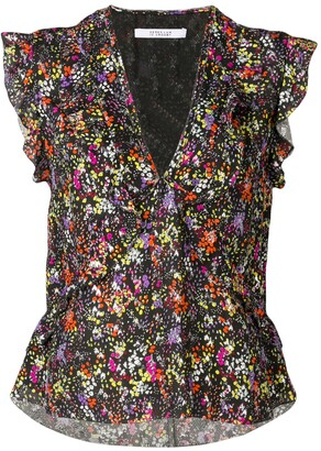 Derek Lam 10 Crosby sleeveless floral ruffle top