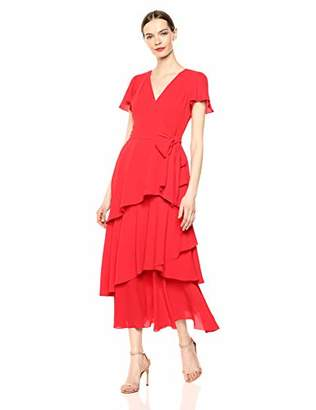 Tahari ASL Women's Short Sleeve Tiered Tea Length Dress