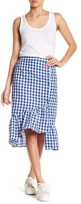LOST + WANDER Gingham Print Ruffle Midi Skirt