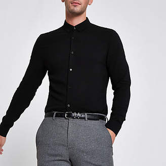 River Island Black textured button-up long sleeve shirt
