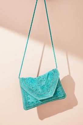 Anthropologie Embroidered Aqua Crossbody Bag $158 thestylecure.com
