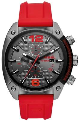 Diesel R) Overflow Chronograph Silicone Strap Watch, 49mm x 55mm