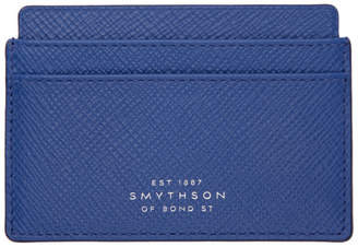Smythson Blue Panama Card Holder