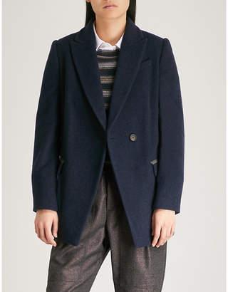 Brunello Cucinelli Beaded-trim cashmere coat