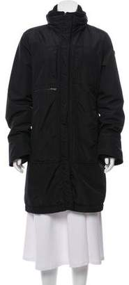 Post Card Zip-Up Knee-Length Coat