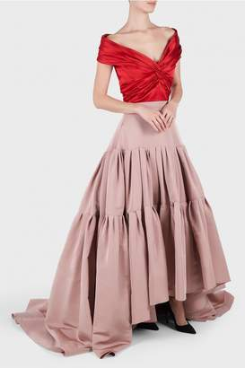 Reem Acra Off Shoulder Top and Hi-Low Skirt