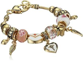 Nurse Enamel and Glass Beads with Tone Metal Drops Charm Bracelet