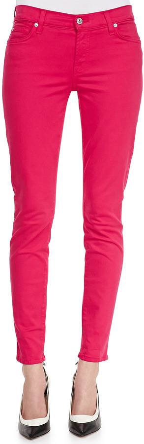 7 For All Mankind Luxe Twill Skinny Ankle Jeans, Fuchsia