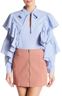 Romeo & Juliet Couture Neck Tie Ruffle Sleeve Blouse