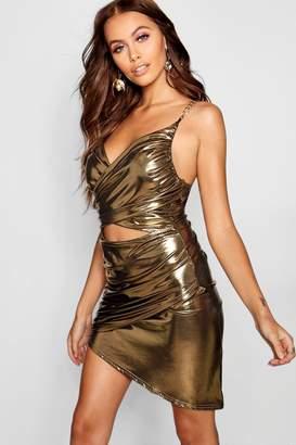 boohoo Metallic Cut Front Chain Detail Dress