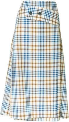 Victoria Beckham A-line checked skirt