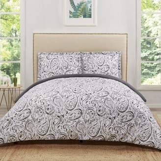 Truly Soft Watercolor Paisley Grey Twin Extra Long Duvet Set