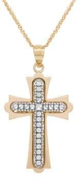 Lord & Taylor 14K Yellow-Gold Cross Pendant Necklace