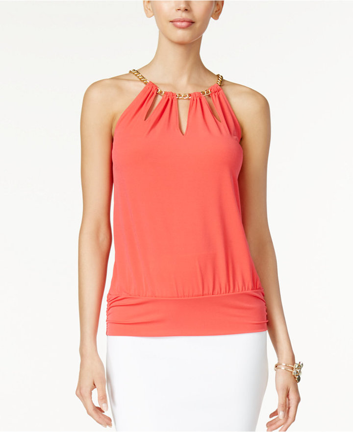 Thalia Sodi Chain-Neck Cutout Halter Top, Only at Macy's