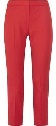 Alexander McQueen Cropped Grain De Poudre Wool Straight-Leg Pants