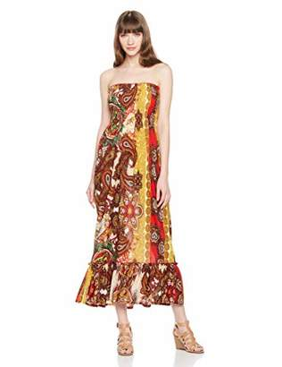 Orchid Row Women's Fashion Printed Spring Summer Maxi Smock Tube Dress and Ruffle Detail