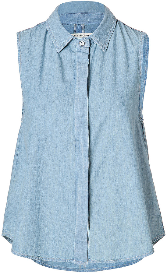 Rag and Bone Rag & Bone Denim Sleeveless Tent Shirt in Moonshine