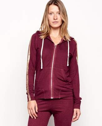 Sundry Burgundy Gold Stripe Hoodie - Size 0 UK6 - Red/Gold