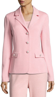 St. John Santana-Knit Three-Button Blazer, Pink $1,039 thestylecure.com