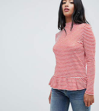 Noisy May Petite Mallory High Neck Stripe Top