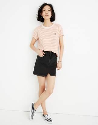 Madewell Rigid Denim A-Line Mini Skirt in Lunar Wash: Cutout Edition