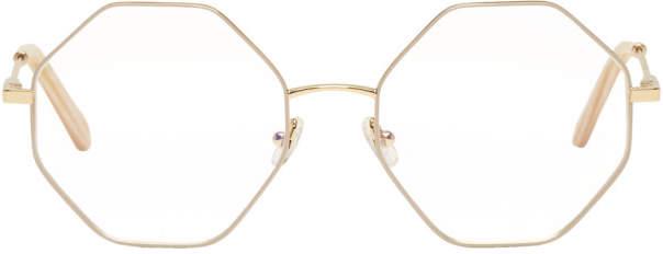 Chloe Gold and Beige Hexagon Glasses