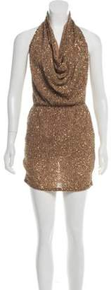 Haute Hippie Embellished Halter Dress Tan Embellished Halter Dress
