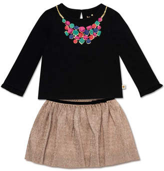 Kate Spade Trompe L'oeil Necklace Top W/ Metallic Knit Skirt, Size 12-24 Months