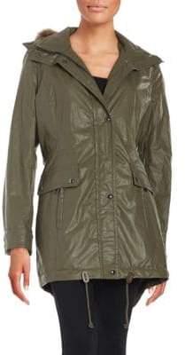 Calvin Klein Faux Fur-Trimmed Raincoat