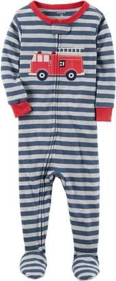 Carter's Boys' 12 Months-5T One Piece Firetruck Print Cotton Pajamas
