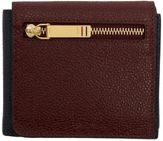 Thom Browne Burgundy and Navy Front Flap Wallet