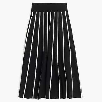 A-line midi sweater skirt with contrast piping