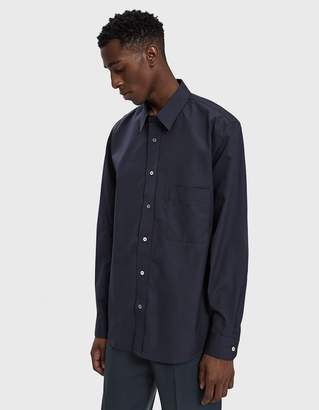 Lemaire Straight Collar Shirt in Prussian Blue