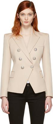 Balmain Beige Double-Breasted Blazer $2,230 thestylecure.com