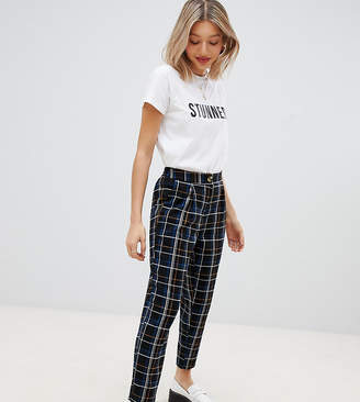 New Look Petite check pull on pants in black pattern