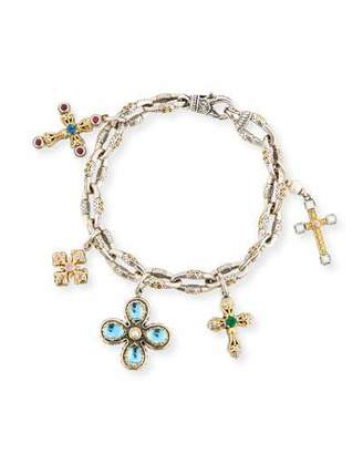 Konstantino Cross Charm Bracelet with Blue Topaz & Pearls