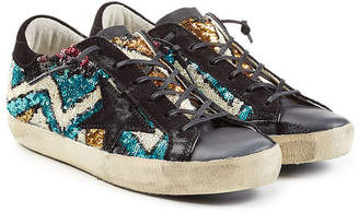 Golden Goose Super Star Leather and Sequin Sneakers